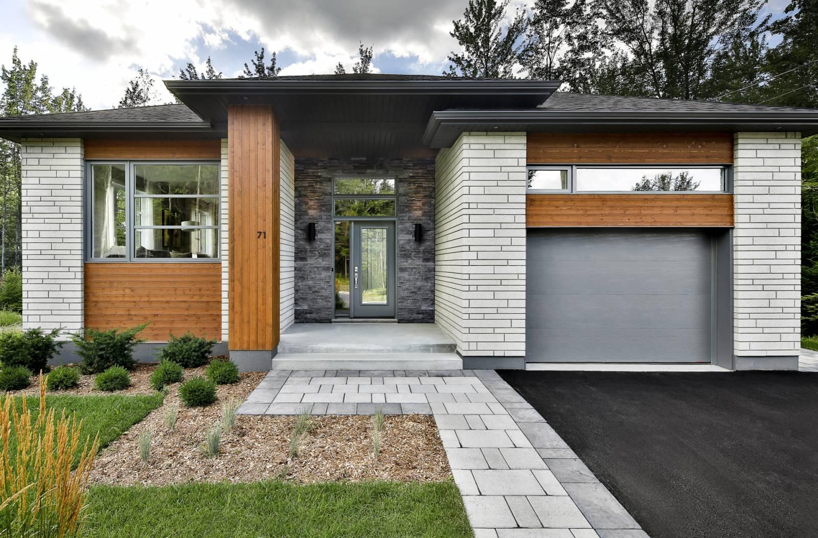 porte d'entrée et porte de garage grise